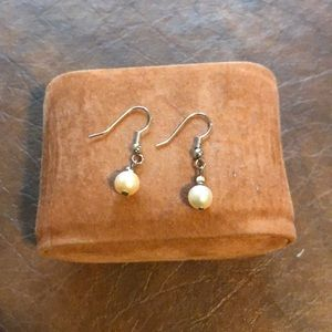 Silver dangle pear earrings